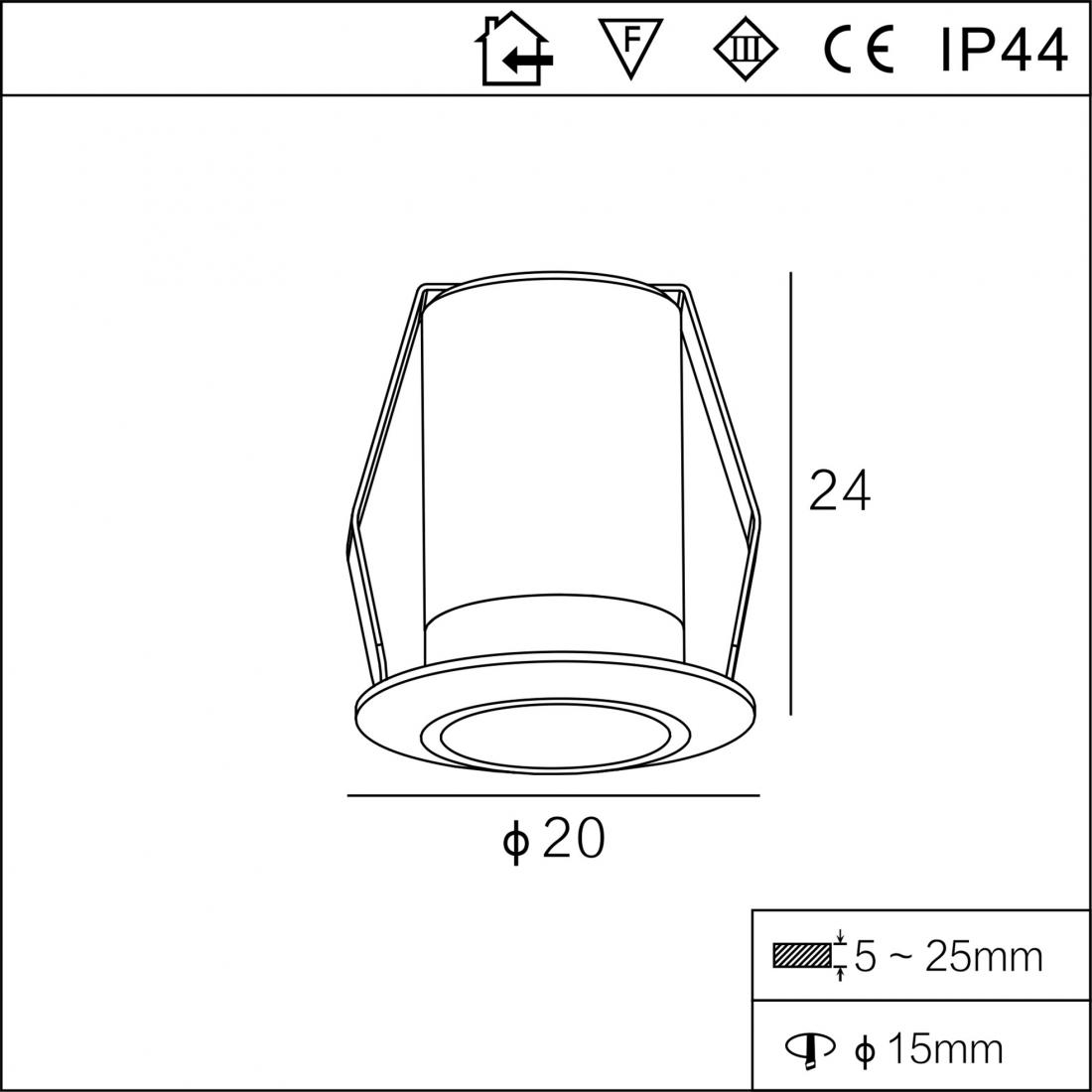 1.7W cabinet round recessed down light