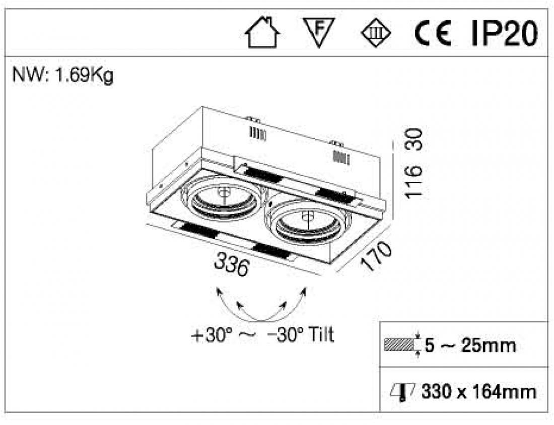 Double head Square AR111 Housing fixture
