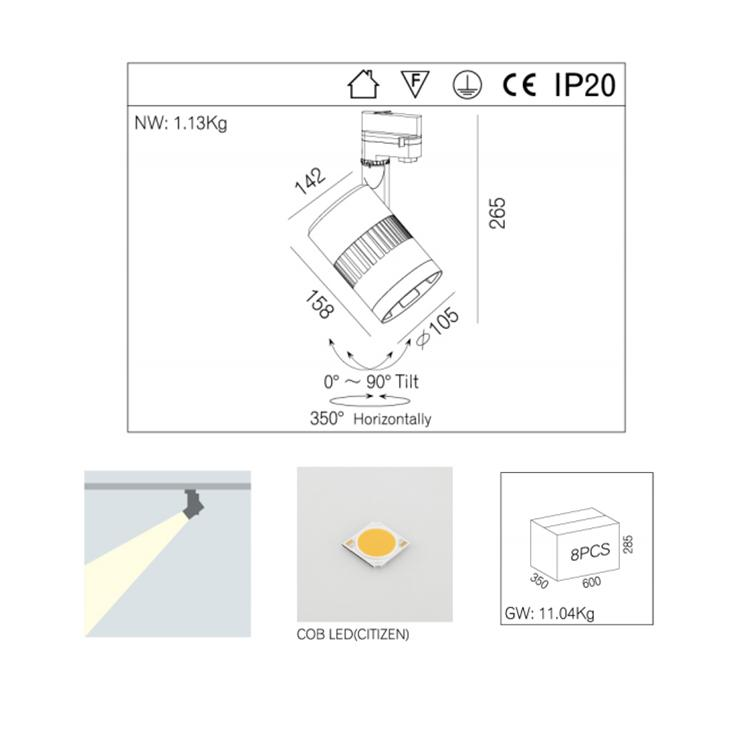anti glare led 30w track light